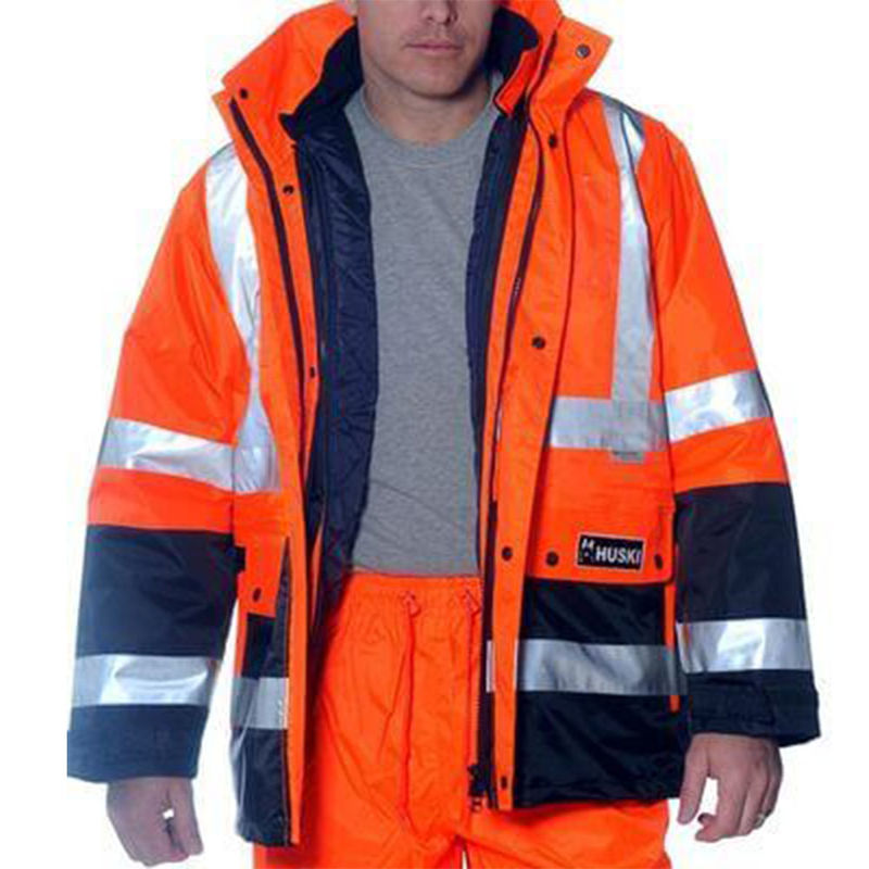 4 In 1 Hi Visibility Two Tone Jacket Orange/Navy