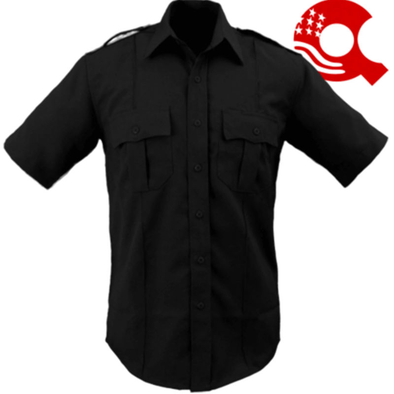 American Styling Epaulette Short Sleeve Shirt Black