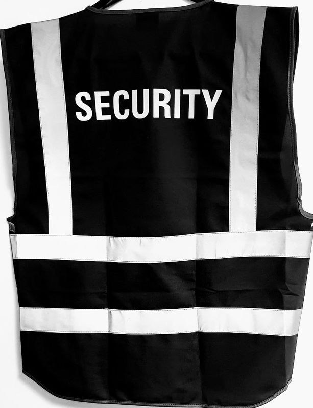 Coloured Hi Vis Security Vest Rear Black
