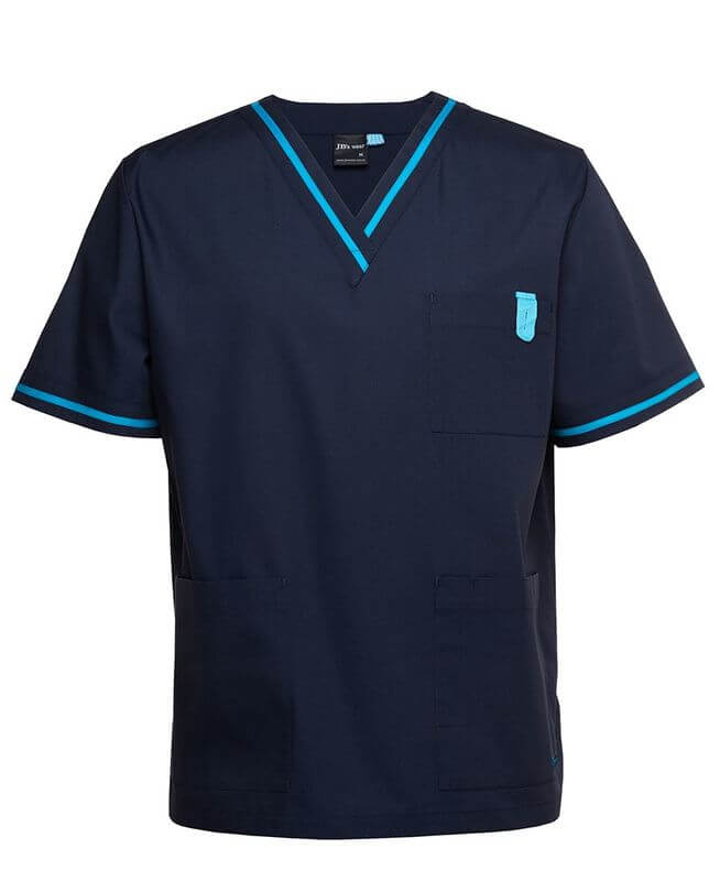 Contrast Scrubs Top Navy/Aqua