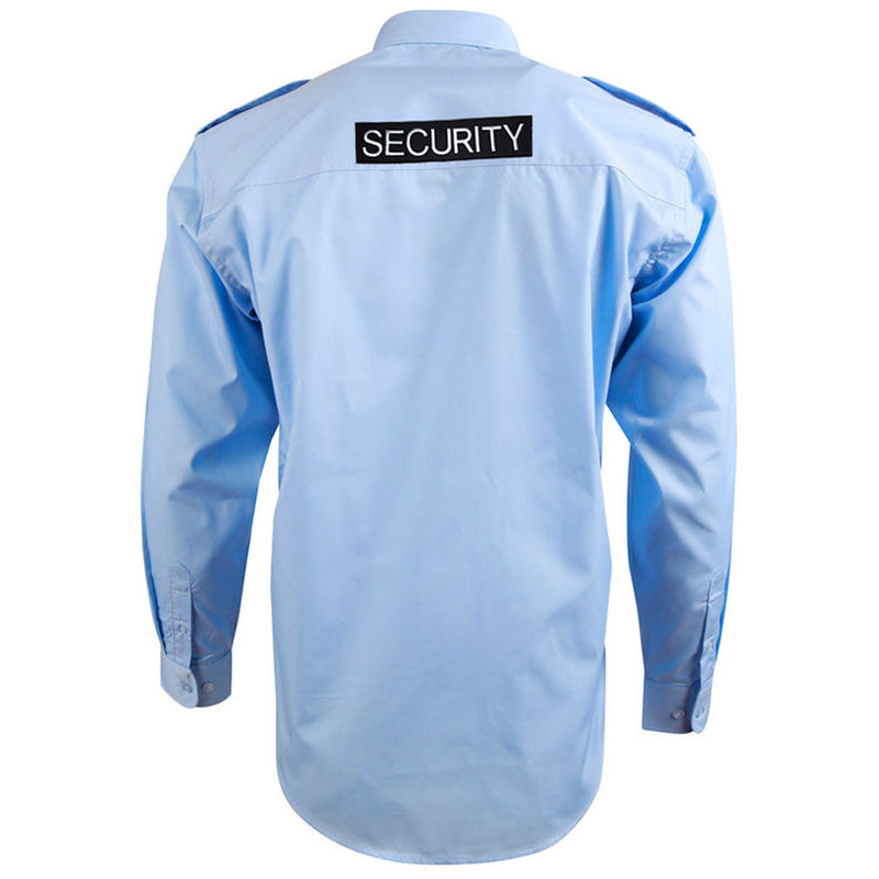 Epaulettes Superior Shirt Blue Long Sleeve with Security to Front and Rear
