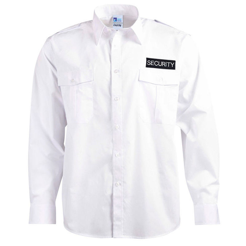 Epaulettes Superior Shirt White Long Sleeve with Security to Front and Rear
