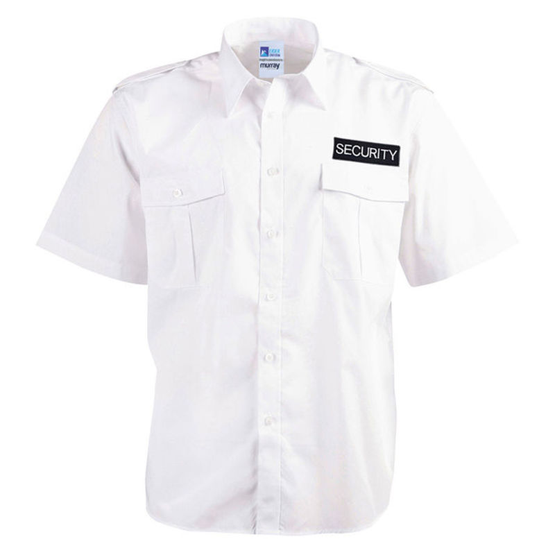 Epaulettes Superior Shirt White Short Sleeves with Security to Front and Rear