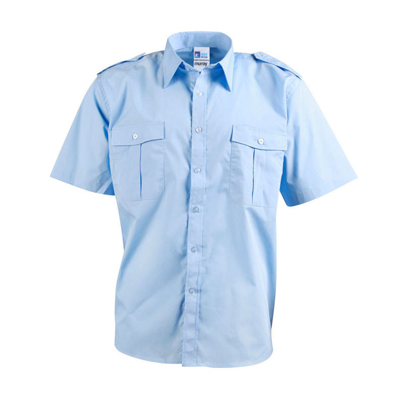 Epaulettes Superior Shirt   Short Sleeves Blue
