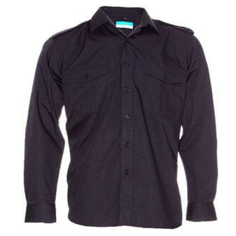 Epaulettes Versatile Shirt   Long Sleeves Black