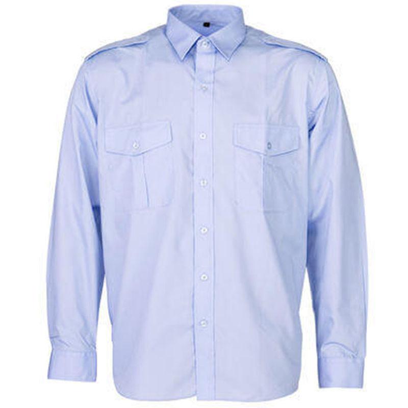 Epaulettes Versatile Shirt   Long Sleeves Blue
