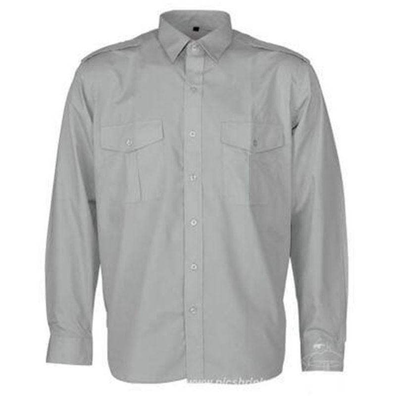 Epaulettes Versatile Shirt   Long Sleeves Grey
