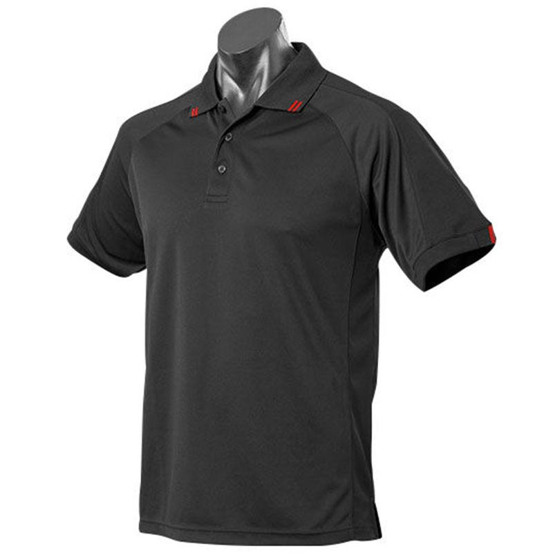 Flinders Mens Polo Black/Red