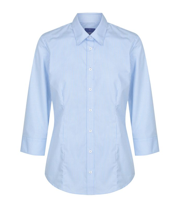 GINGHAM 34 SLEEVE SHIRT Sky