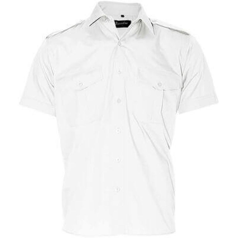 Heavy Duty Security Epaulette Shirt Short Sleeve White
