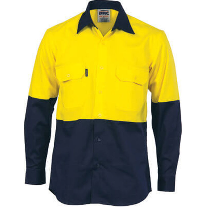 Hi Vis Cool-Breeze Vertical Vented Cotton Shirt - Long sleeve Yellow/Navy