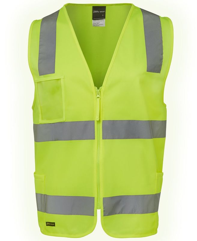Hi Vis D+N Zip Safety Vest Lime