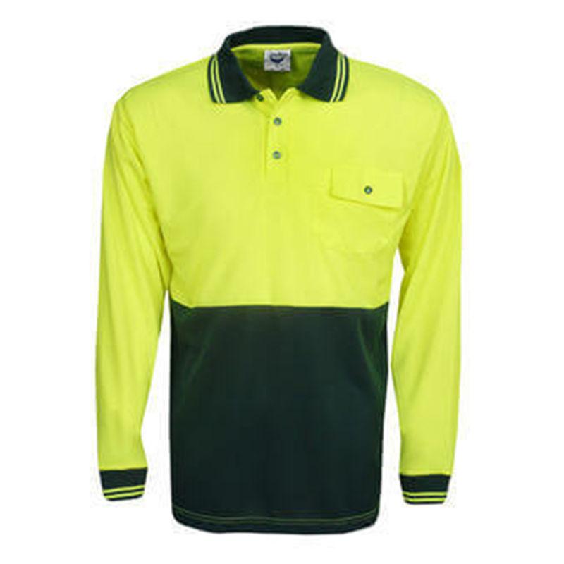 Hi Vis Polo Shirt Long Sleeve Yellow/Bottle