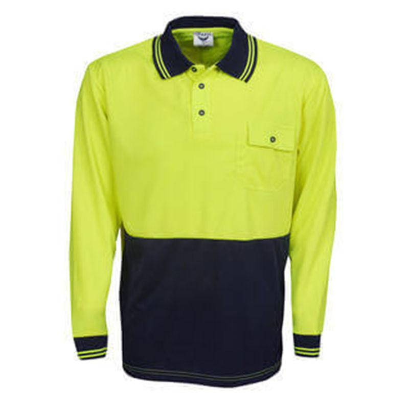 Hi Vis Polo Shirt Long Sleeve YellowNavy