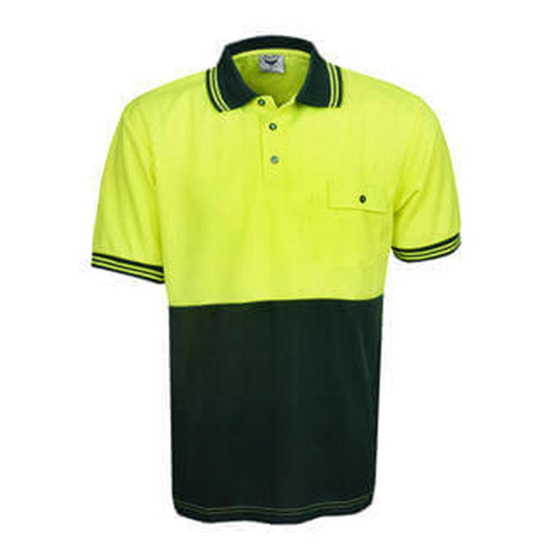 Hi Vis Polo Shirt Short Sleeve Yellow/Bottle