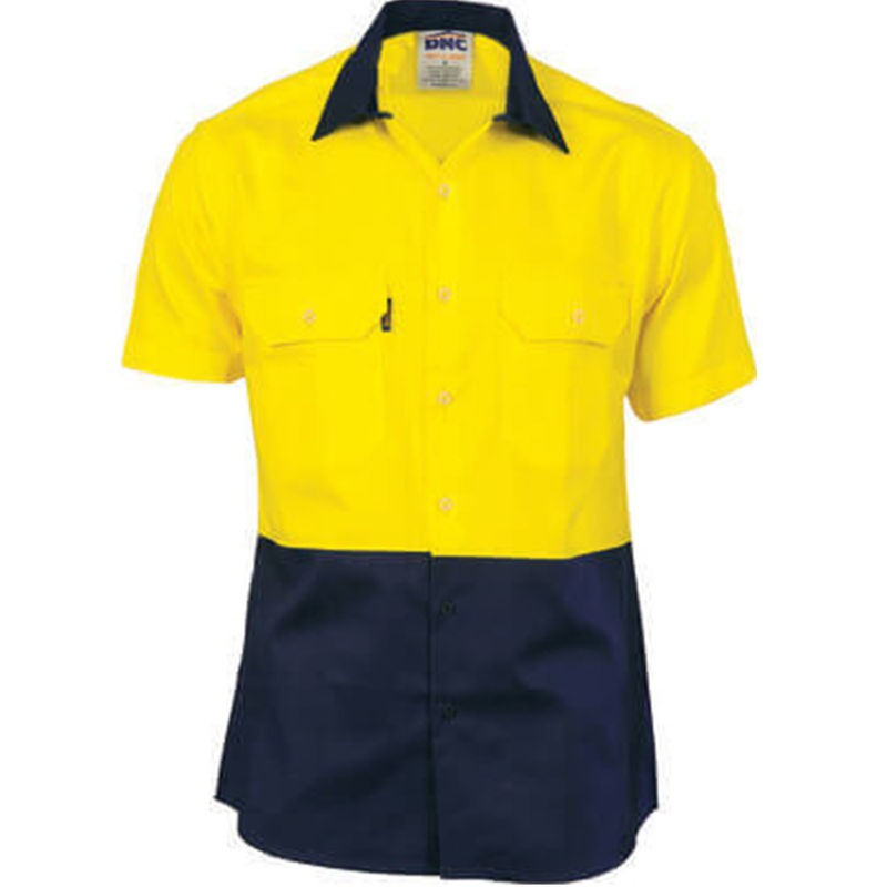 Hi Vis Two Tone Cool-Breeze Cotton Shirt - Short Sleeve Yellow/Navy