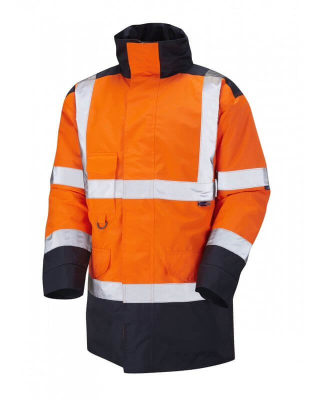 Hi Visibility Two Tone Traffic Jacket OrangeNavy