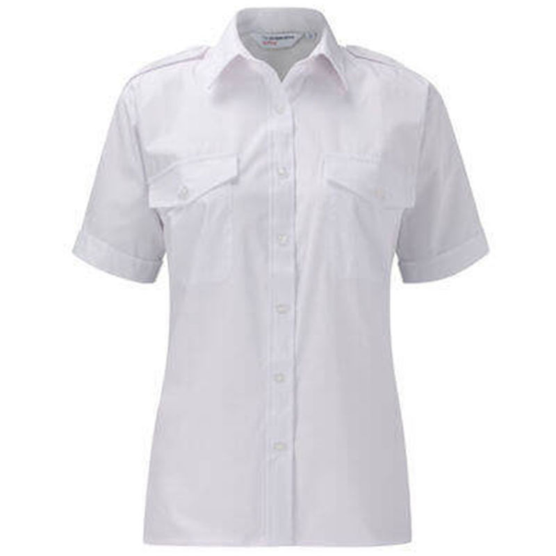 Ladies Epaulette Shirt Short Sleeve White