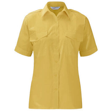Ladies Epaulette Short Sleeve Tailored Fit Shirt Gold