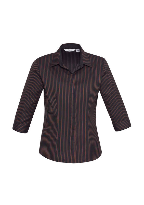Ladies Reno Stripe 34 Sleeve Shirt Port Wine