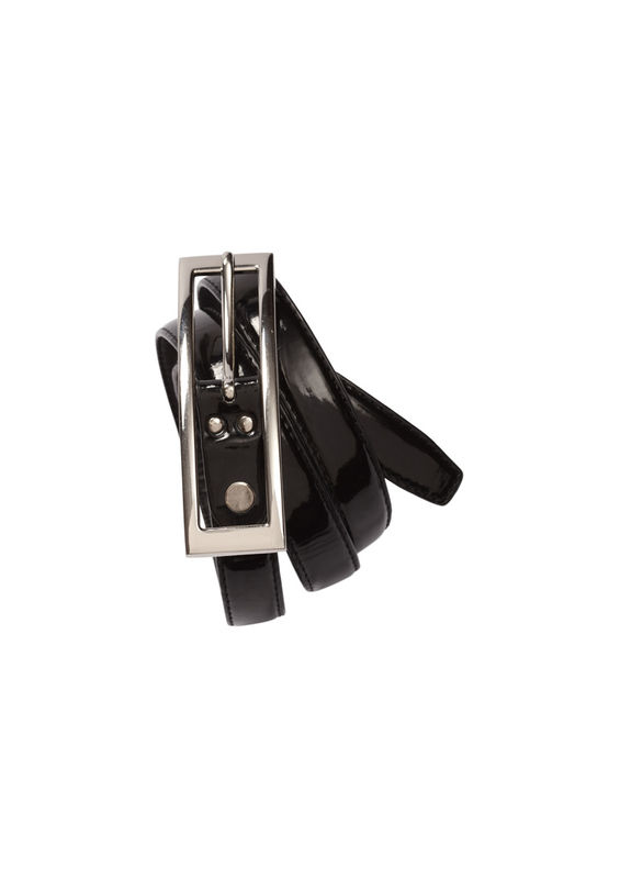 Ladies SemiPatent Belt Black