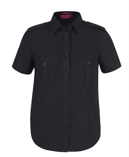 Ladies Short Sleeve Epaulette Shirt Black