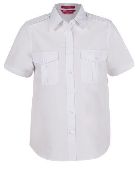 Ladies Short Sleeve Epaulette Shirt White