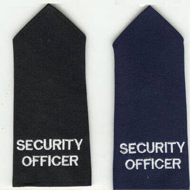 Long Length Tapered Epaulette Embroidered Security Officer Black or Navy