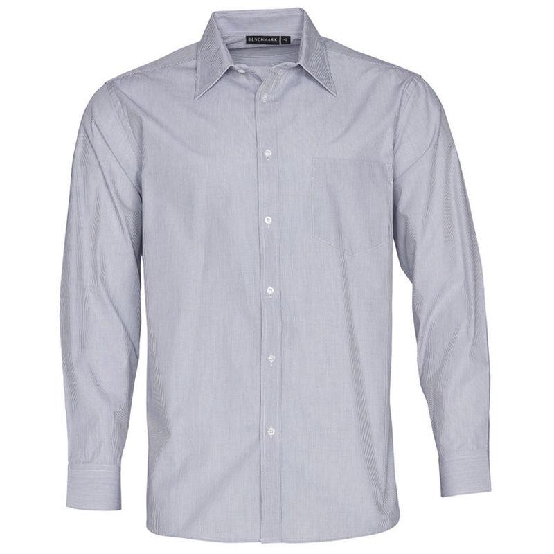 Men+039s Fine Stripe Long Sleeve Shirt Silver Grey