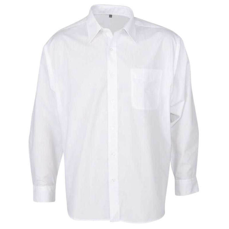 Men+39s Business Long Sleeve Shirt  White