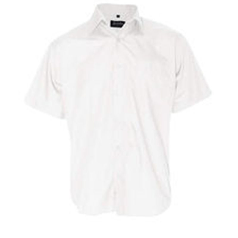 Men+39s Business Short Sleeve Shirt White