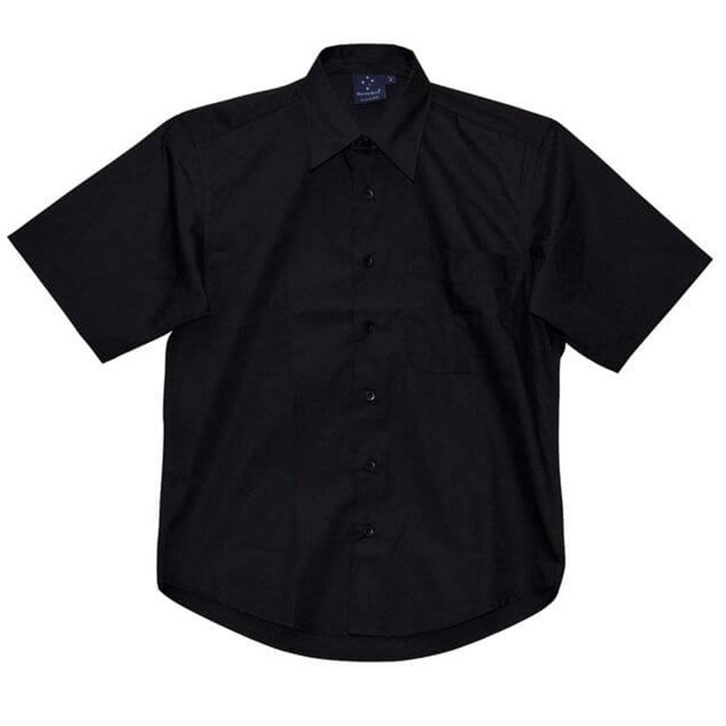 Men+39s Teflon Executive Short Sleeve Shirt Black