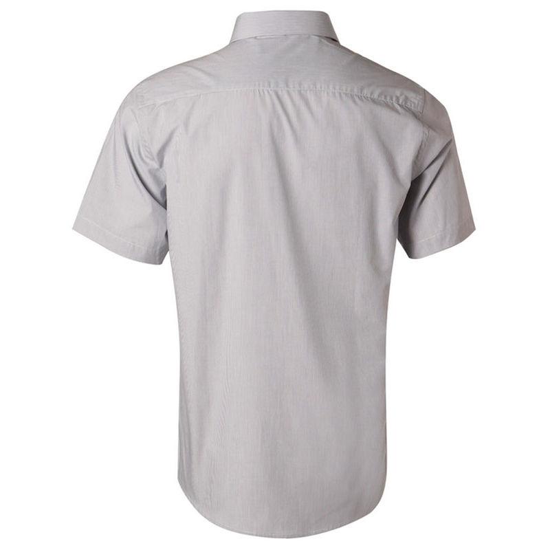 Menand39s Fine Stripe Short Sleeve Shirt Silver Gray