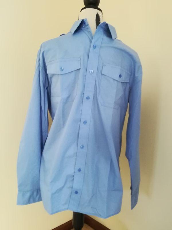 Menand39s Long Sleeve Epaulet Shirt Blue