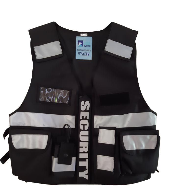 Multi Pocket Security Vest Black Hi Vis 3M