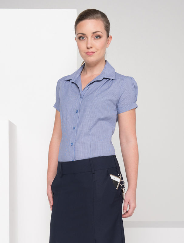 Pleat Front Shirt Short Sleeve Blue