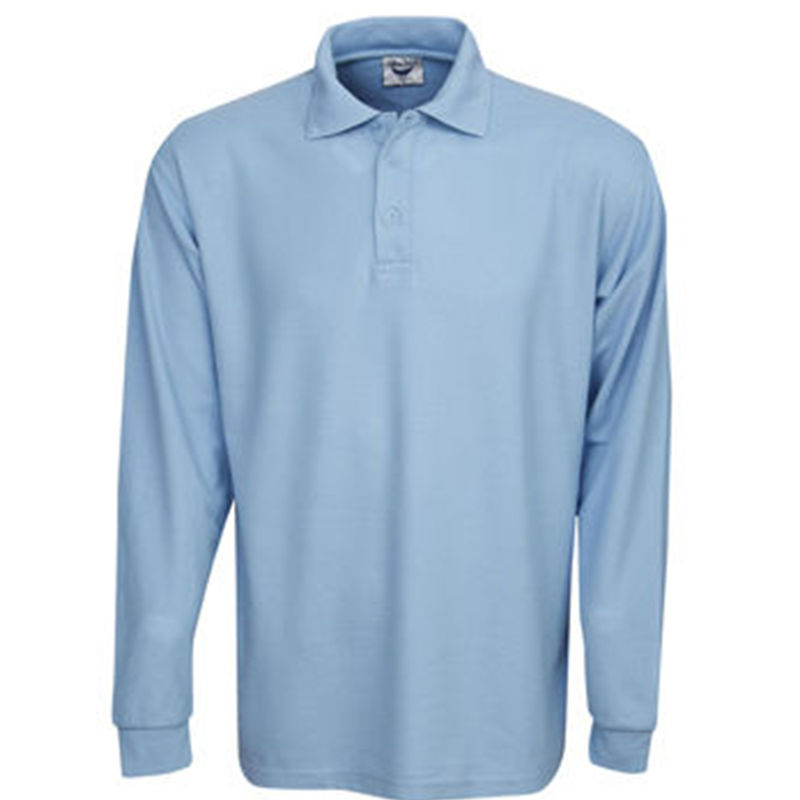 Premium Long Sleeve Pique Polo Sky