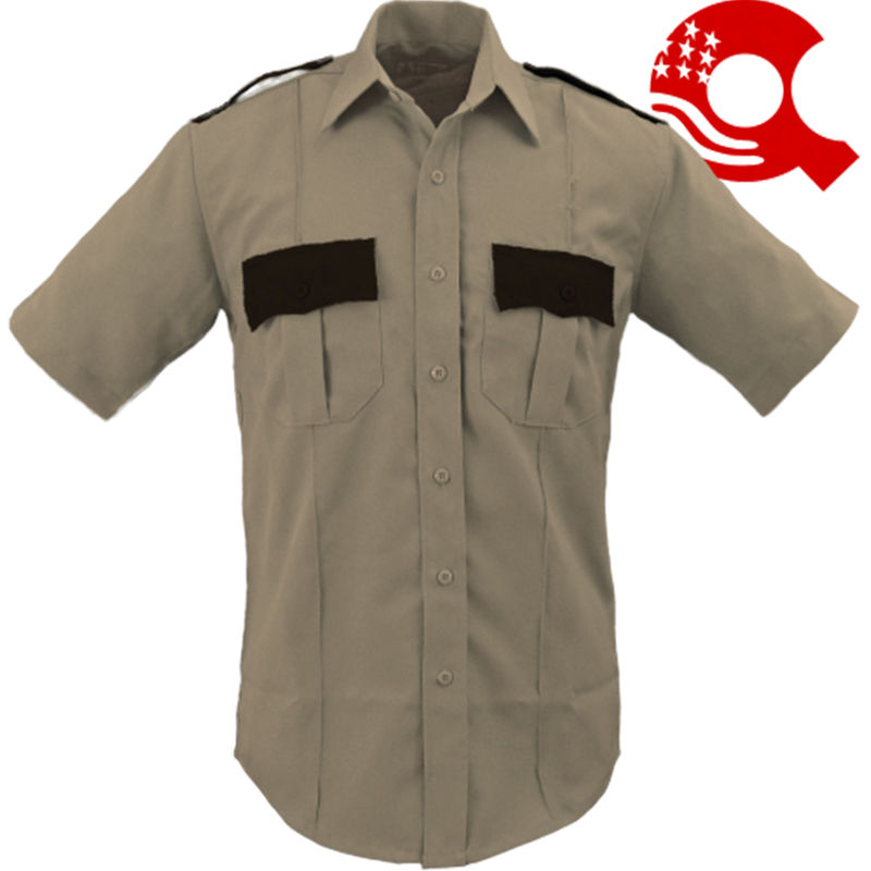 Security Uniform Shirt Two Tone Short Sleeve-Tan/Brown