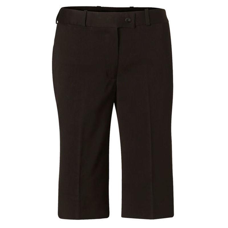 Womenand39s PolyViscose Stretch Knee Length Flexi Waist Shorts Black