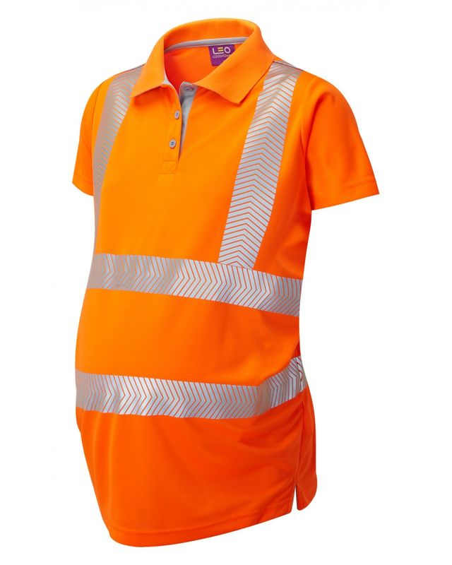 Womens Maternity Polo Shirt Orange