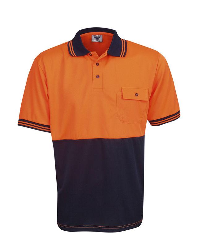 Hi Vis Cooldry Polo Fluoro Orange/Navy