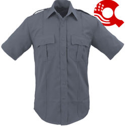 American Styling Epaulette Short Sleeve Shirt Grey