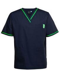 Contrast Scrubs Top Navy/Pea Green