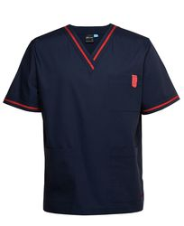 Contrast Scrubs Top Navy/Red