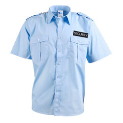 Epaulettes Superior Shirt Blue Short Sleeves with Security to Front and Rear