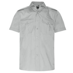 Epaulettes Versatile Shirt   Short Sleeves Grey