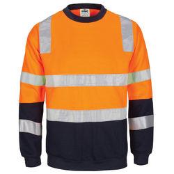 HIVIS 2 Tone Crew neck Fleecy Sweat Shirt Orange