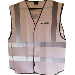 Hi Vis Chief Warden Vest Front and Rear One Line Print