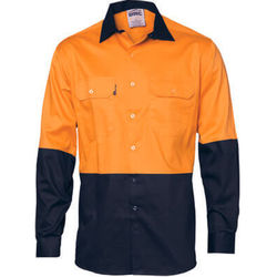 Hi Vis Cool-Breeze Vertical Vented Cotton Shirt - Long sleeve Orange/Navy