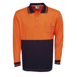 Hi Vis Polo Shirt Long Sleeve Orange/Navy